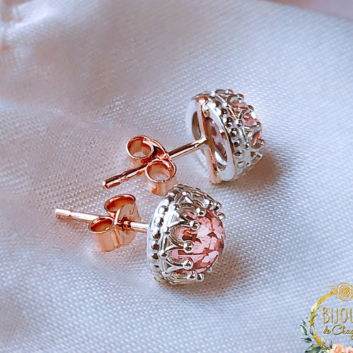 Morganites, Alexandrites, White Sapphires Crown Silver & Rose Gold stud earrings
