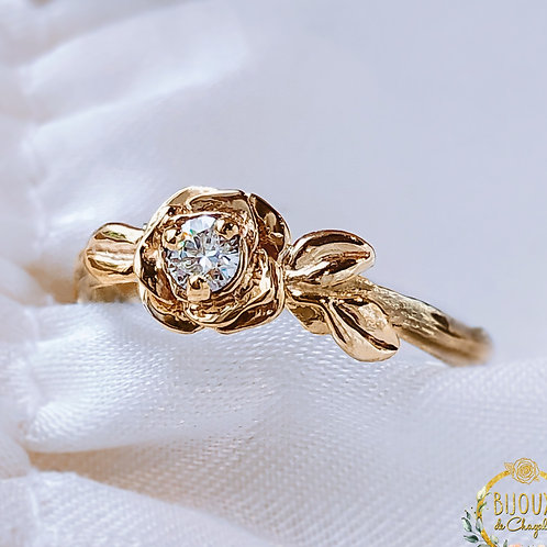 Art Nouveau Golden Rose Diamond Twig Engagement ring