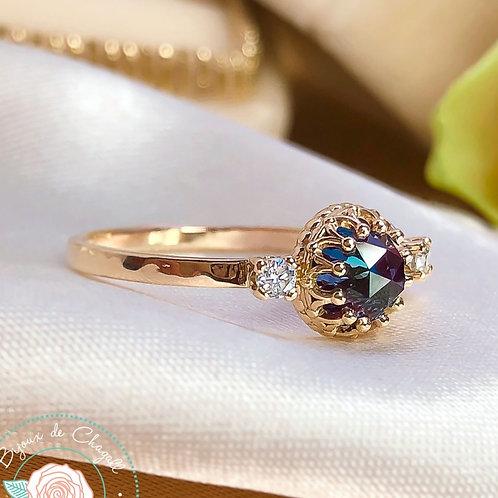 Rare Colour Change Alexandrite and Diamonds Romantic 14ct Gold ring