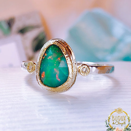 Natural Ocean Green Opal and Diamond Engagement ring, 18ct Gold and Silver.