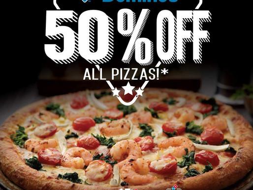 50% Off All Domino's Pizza!