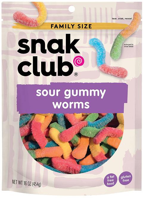 Snak Club, Family Size Sour Gummy Worms