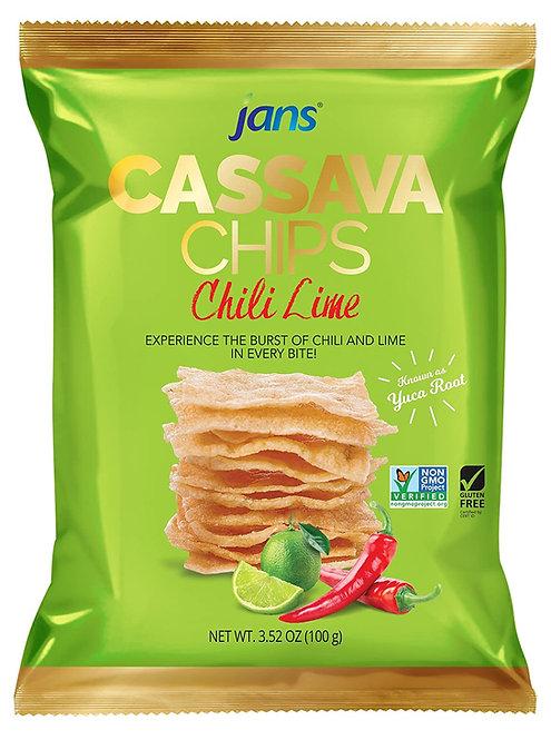 Jans Cassava Chili Lime Chips, 3.5 oz (100g)