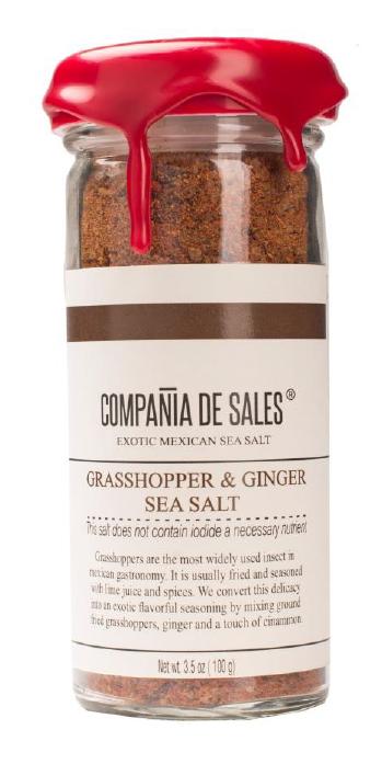 Compania de Sales: Grasshopper & Ginger Sea Salt 100g Front View