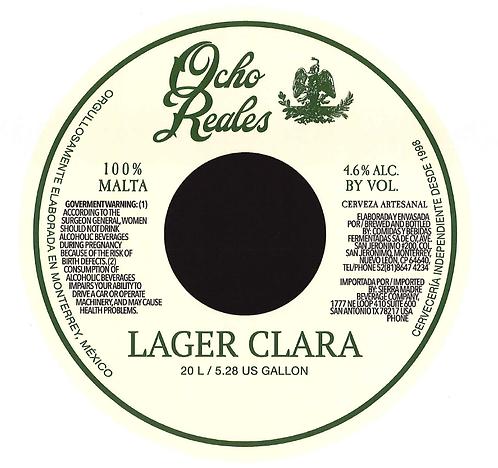 """1 One way Keg of Ocho Reales Beer """"Lager Clara"""" 5.28 gal (20 L)"""