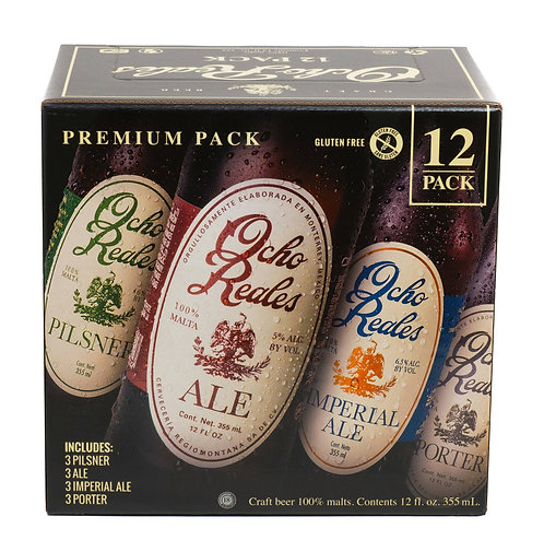 "Ocho Reales Beer ""Premium Pack"" 12 Pack Front View"