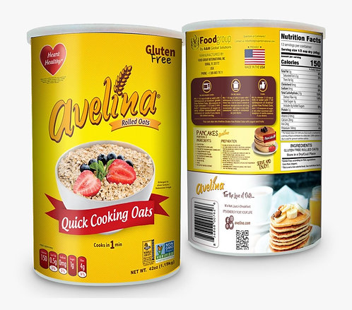 Avelina, Quick Cooking Oats 42oz Canister
