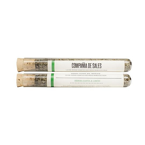 Compania de Sales: Mexican Pepper Leaf & Lime Sea Salt Test Tube 15grs
