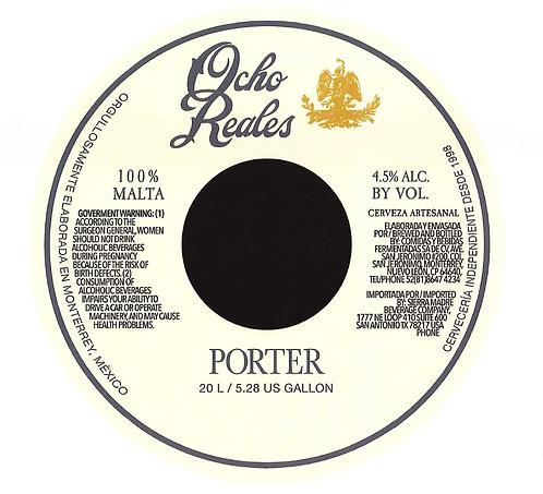 """One way Keg of Ocho Reales Beer """"Porter"""" 5.28 gal (20 L)"""