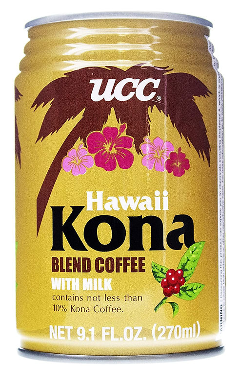 UCC Hawaii Kona Blend Coffe with milk 9.1FLOZ 270ml Case of 24 Cans