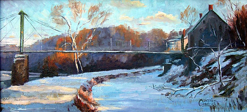 """Bridge at The Black Bass"" 14""x30"""