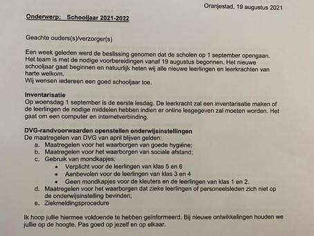 Een brief van het bestuur.
