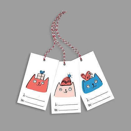 6 étiquettes Chats pour cadeaux