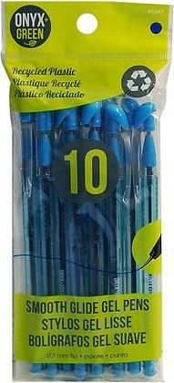 10 stylos gel bleus plastique recyclé