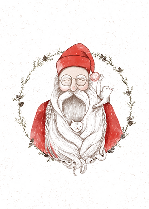 Carte Père Noël et chat