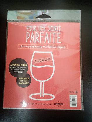 Marqueurs à verres de vin (20) Soirée parfaite