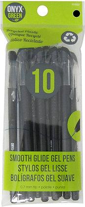 10 stylos gel noirs plastique recyclé