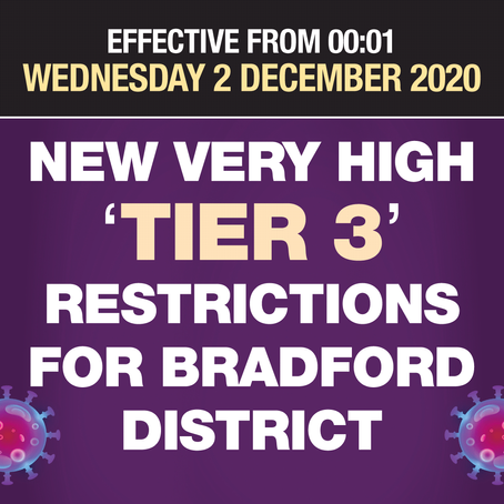 Bradford District to enter Tier 3 restrictions