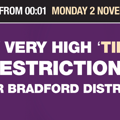 Bradford District placed to enter Tier 3 restrictions After discussion with Government