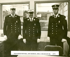 Uniformed Members Pose in Chief's Office, 1971