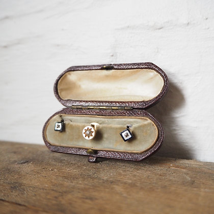Antique Diamond Gold & Silver Collar Studs
