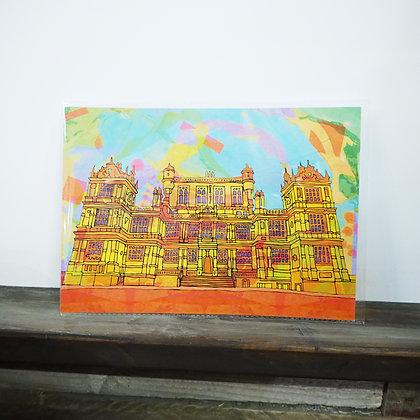 Neon Wollaton Hall Nottingham A4 Print