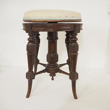 Antique Victorian Edwardian Aesthetic Period H Brooks & Co Mahogany Piano Stool
