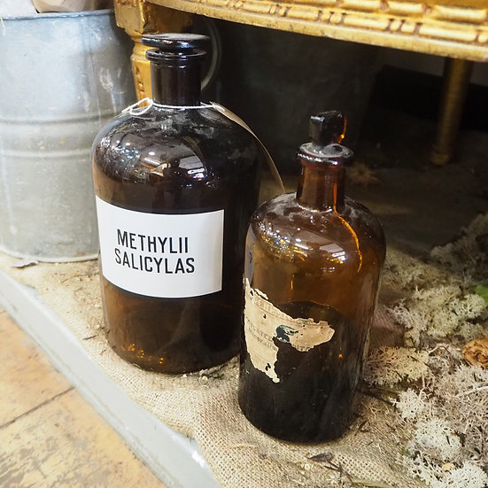 Large Apothecary Amber Glass Bottle Methylii Salicylas