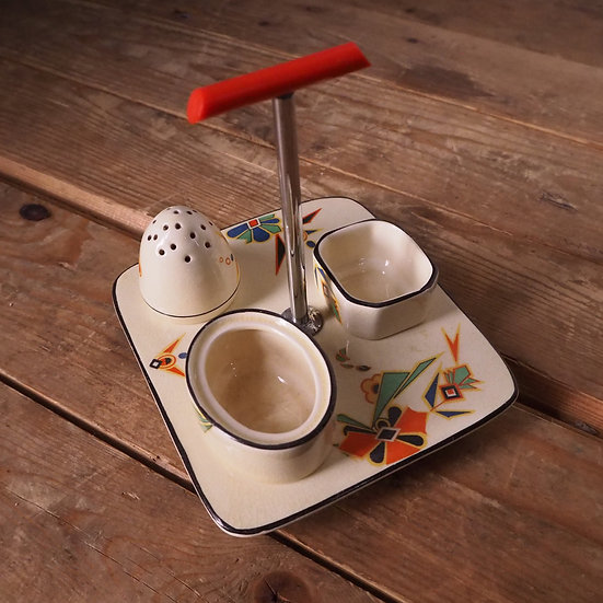 Bursley Ware Art Deco Ceramic Cruet Set