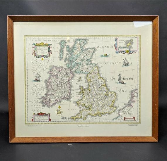Magna Britannia Hibernia Tabla 1662 reprinted By John Bartholomew & Son & Framed