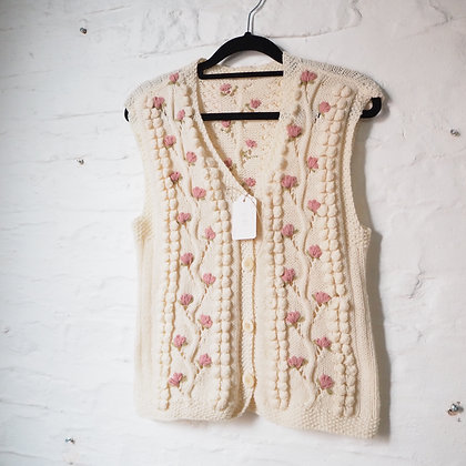 Cable Textured Knit Cream Waistcoat with Embroidered Pink Flowers