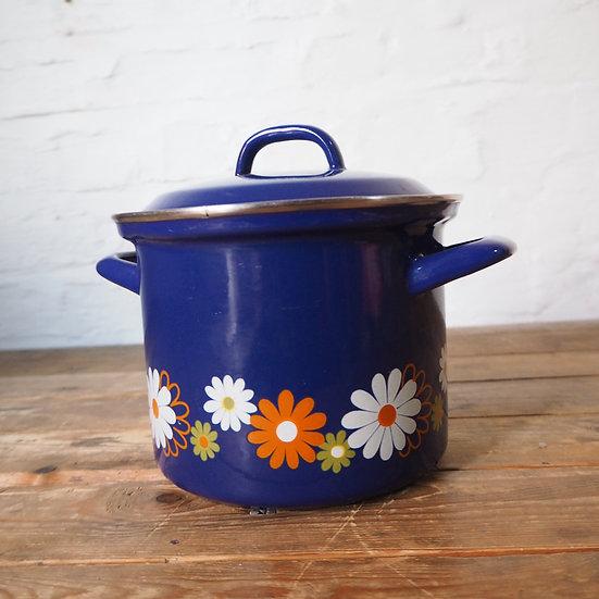60s/70s Blue Floral Enamel Cooking Pot
