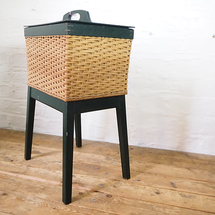 Green and Woven Wicker Cane Sewing Box / Side Table