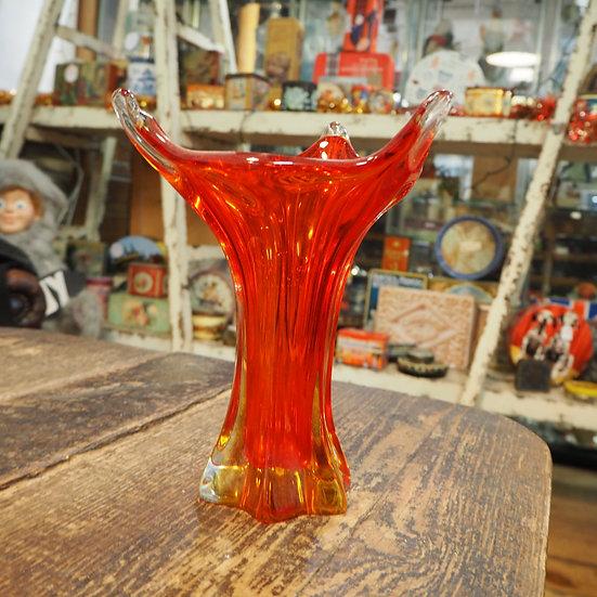 1970's Red Murano Glass Vase