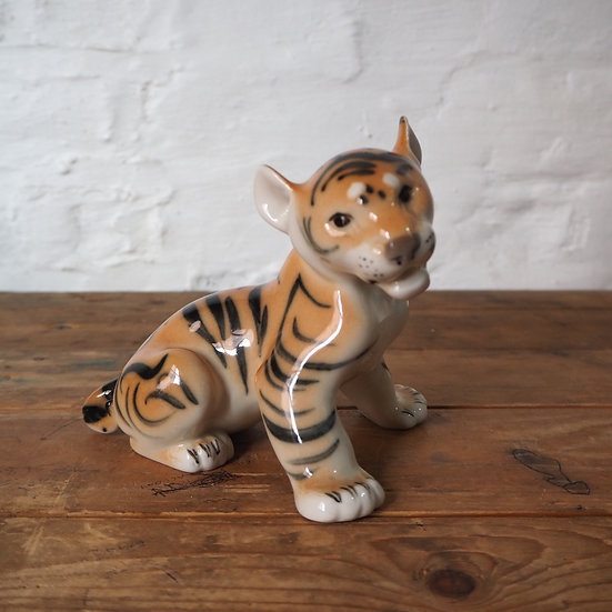 Lomonosov Tiger Cub USSR Ceramic Figure