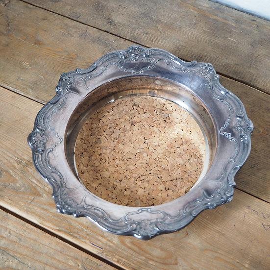 Vintage Gorham 'Chantilly' Electro Plated Silver Decorative Wine Bottle Coaster