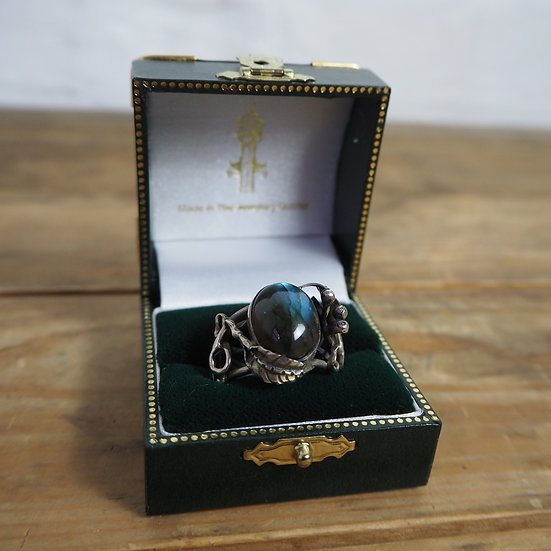 Silver and Green Jasper Ring