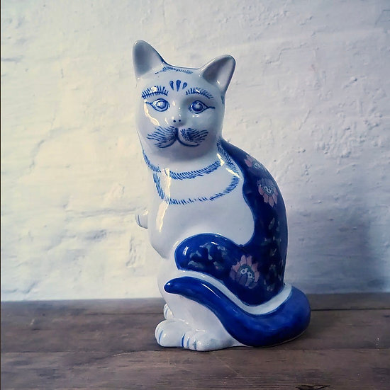 Blue and White Cat Figurine