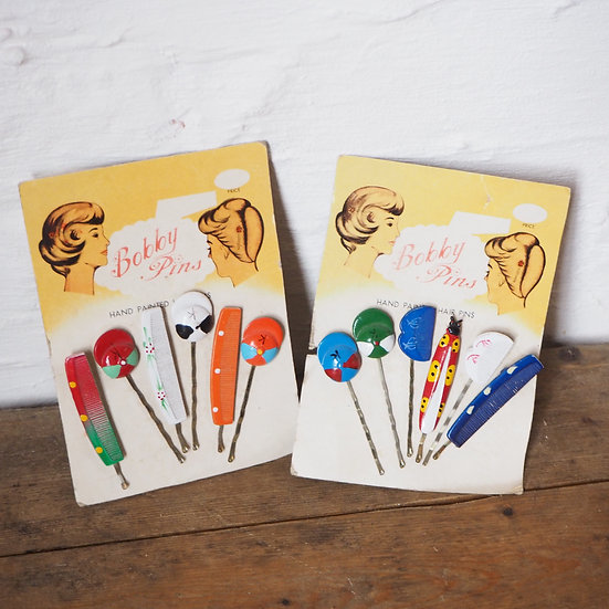 1 Set Blue or Red 1950's Deadstock Hand Painted Hats and Combs Bobby Pins