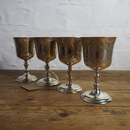 Beautiful set of 4 Silver Plated Goblets