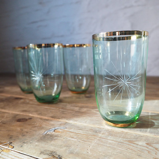 Set of 4 Green Etched Glasses