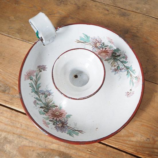 Victorian English enamel floral design chamber stick
