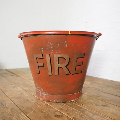 Red Fire Bucket with Copper Painted Lettering