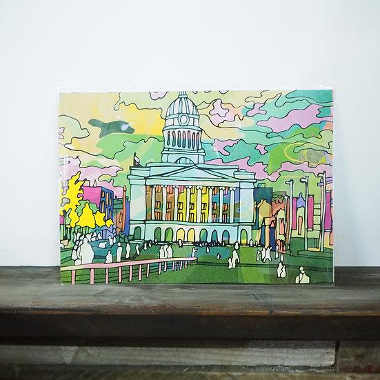 Neon Market Square Nottingham A4 Print