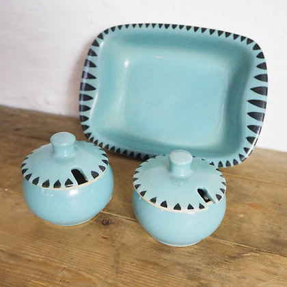 Blue Breakfast Condiment Set of Butter Dish and Preserve pots