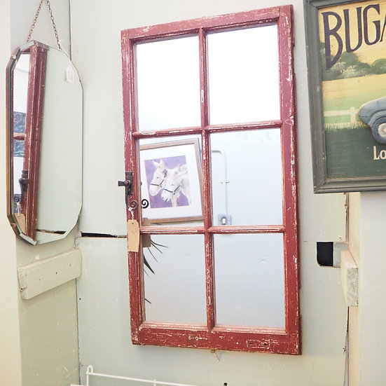 Upcycled Rustic Red 6 Light Window Mirror