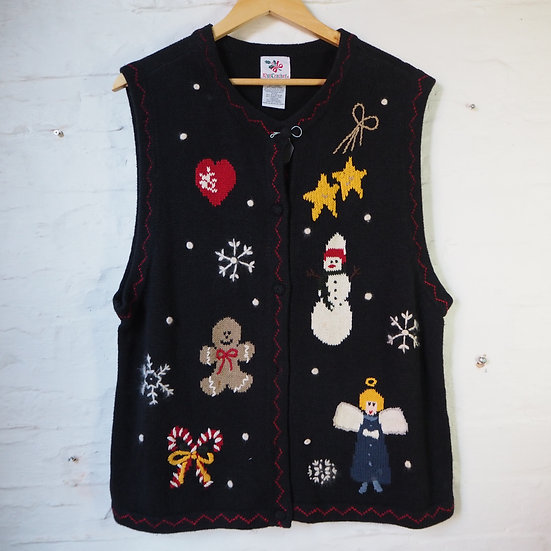 1980's American Sleeveless Knitted Christmas Cardigan