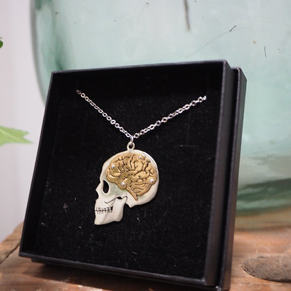 Handmake Skull + Brain Necklace