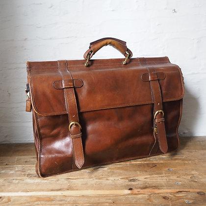 Vintage Handmade Topgrain leather overnight bag + breifcase