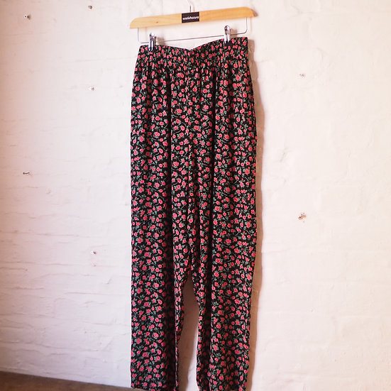 Size 12 1980s High Waist Culotte Summer Trousers